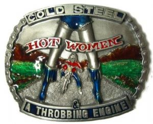 Cold Steel Hot Woman Throbbing Engine Motorcycle Belt Buckle + display stand. Code BD6